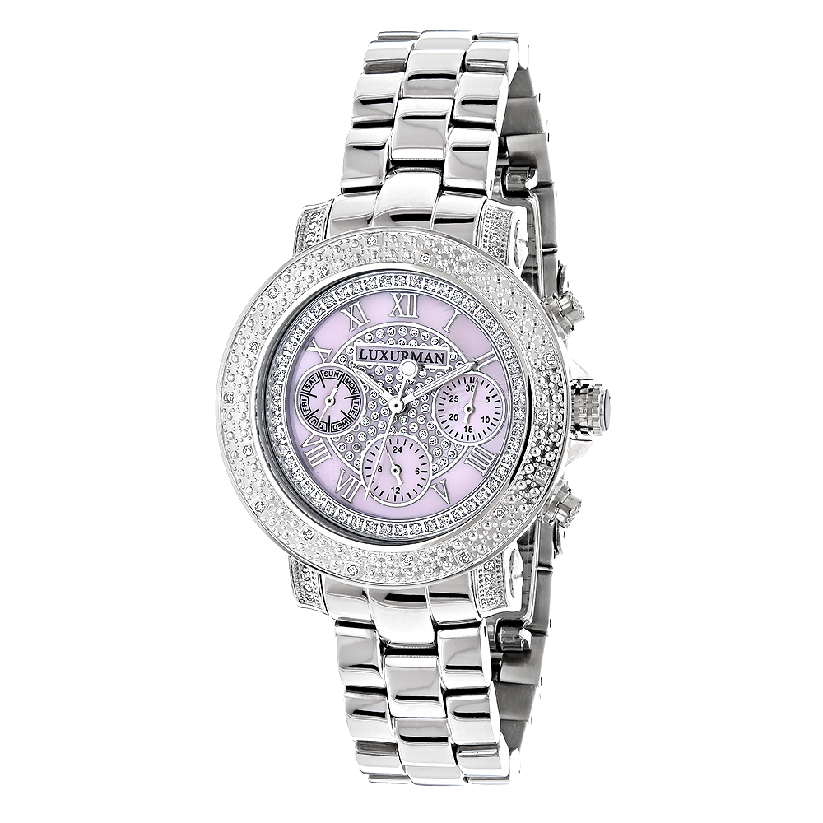 Luxurman Ladies Diamond Watch 0.3ct Pink MOP Oversized Womens Watch