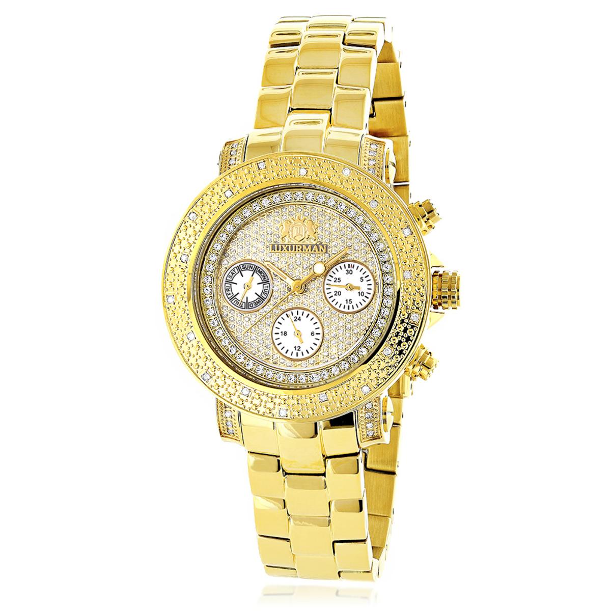Luxurman Ladies Diamond Watch 0.3ct Yellow Gold Plated
