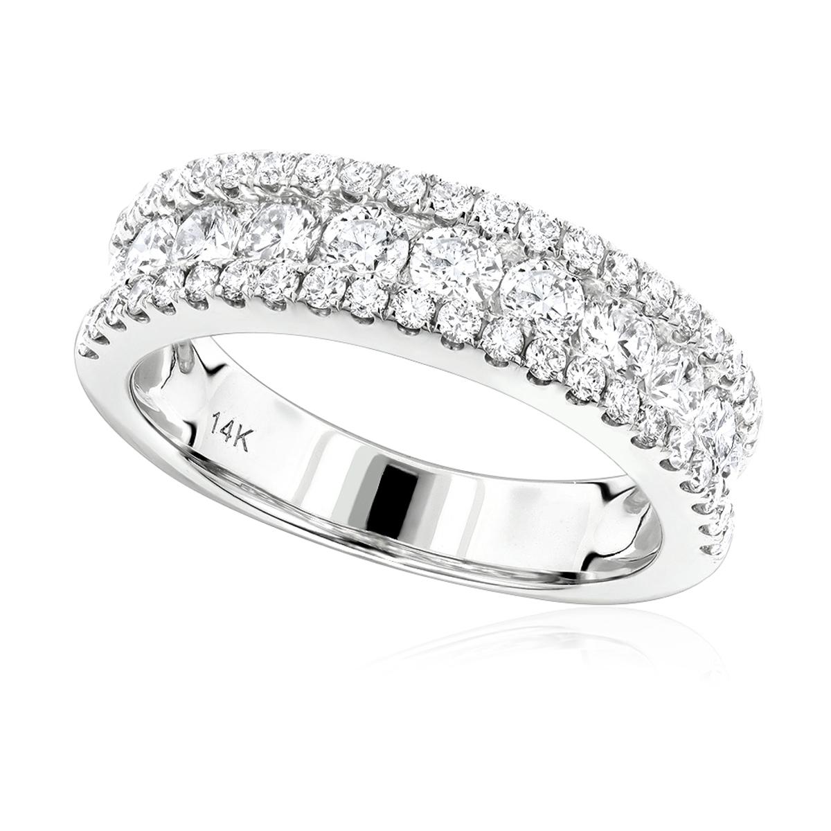 Luxurman Ladies Rings: 14K Gold Round Diamond Wedding Band for ...