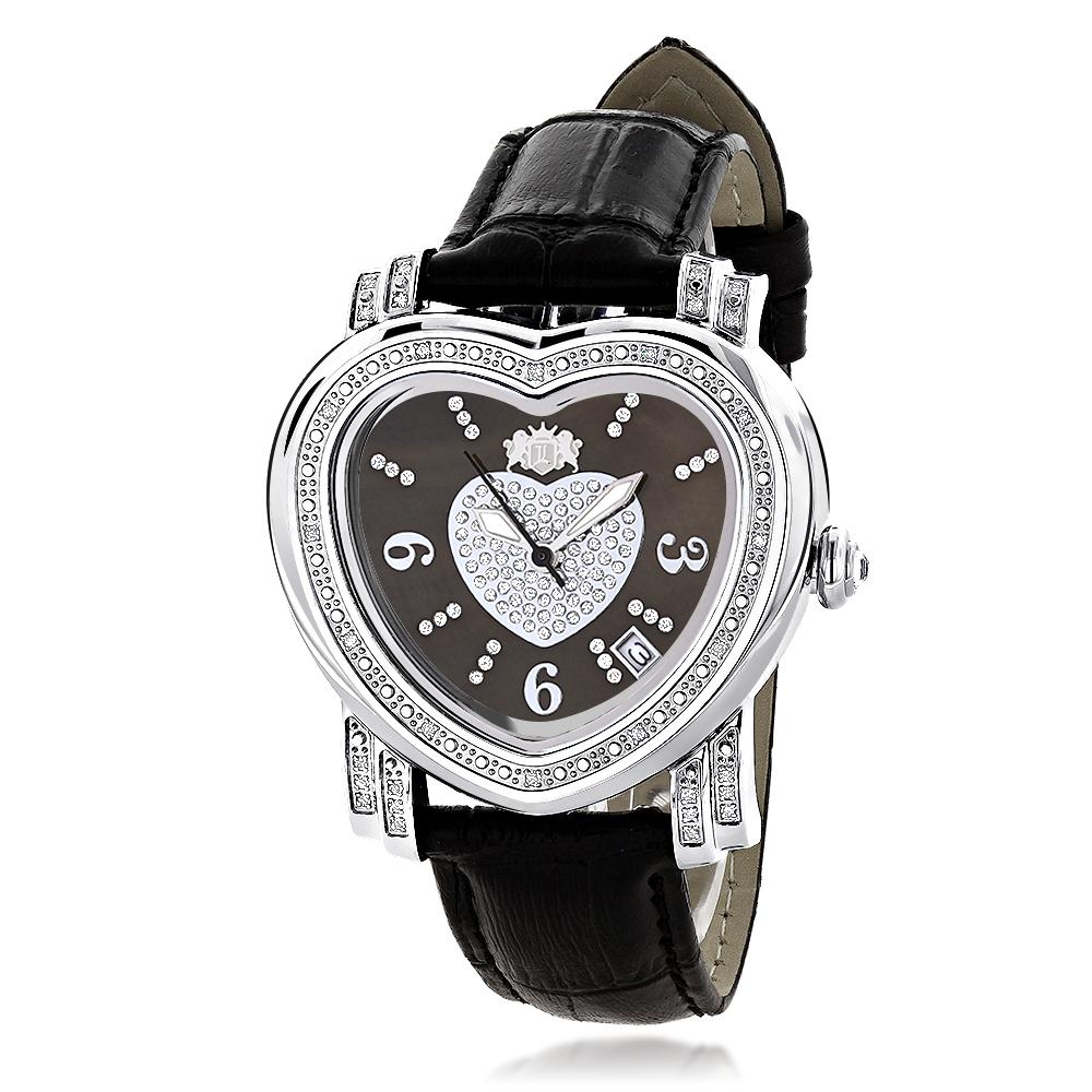 Luxurman Large Ladies Diamond Heart Watch 0.3ct Black MOP