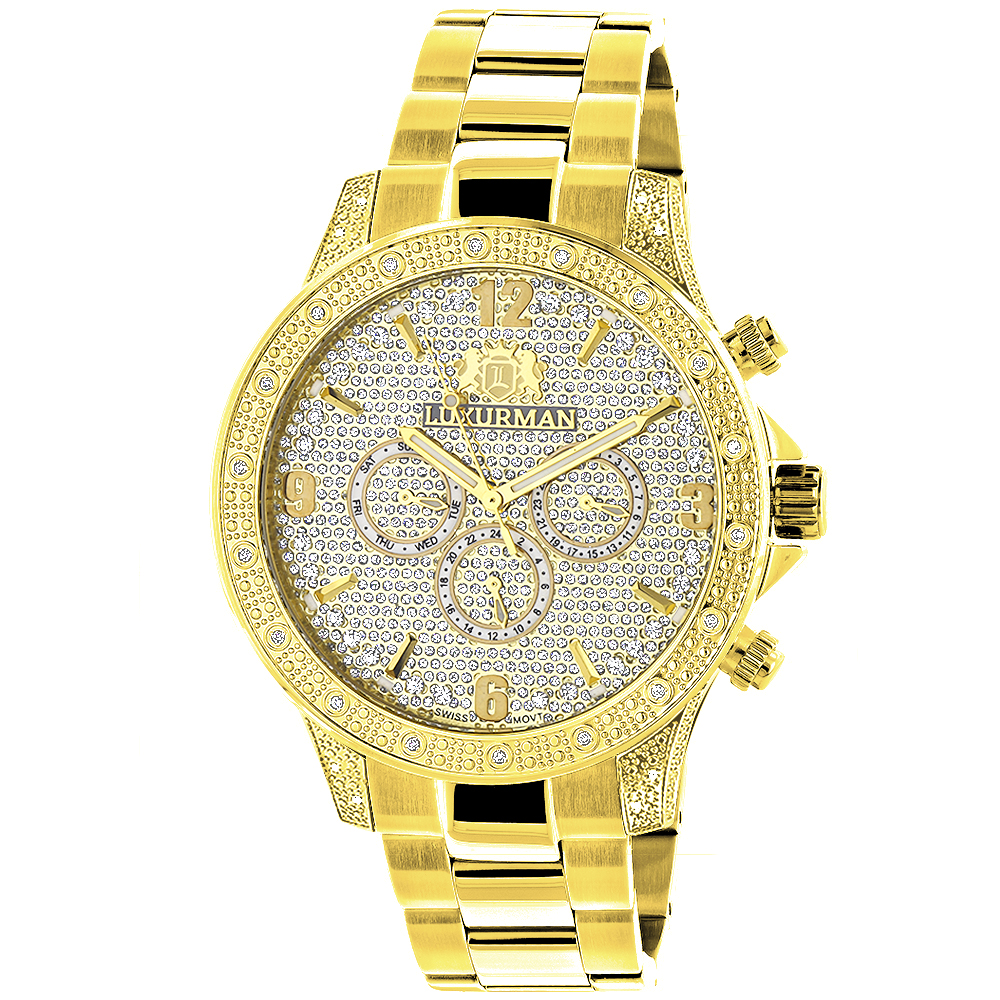 Luxurman Liberty Mens Diamond Watch 0.5ct Yellow Gold Plated