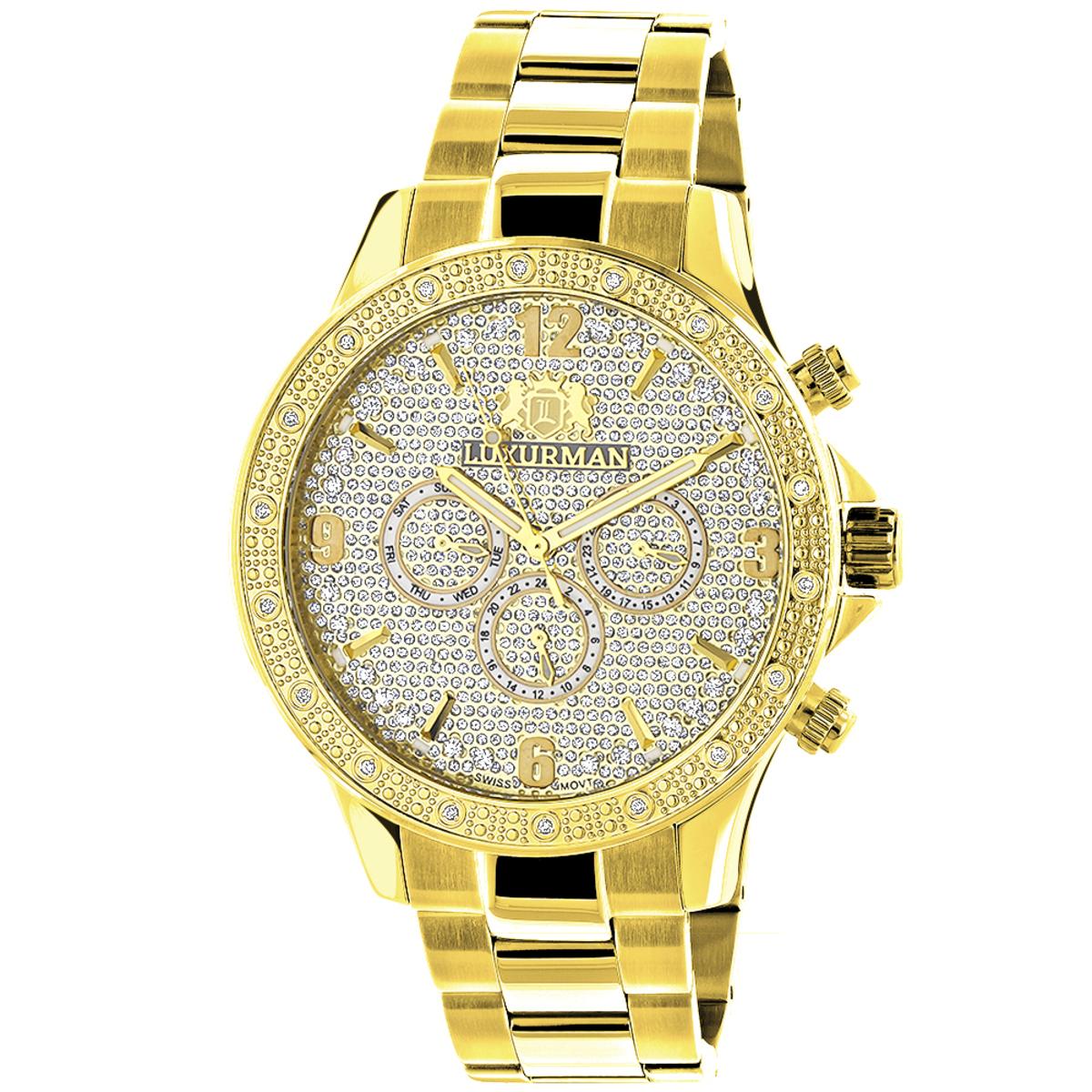 Luxurman Liberty Mens Diamond Watch for Sale 0.2ct Yellow Gold Plated Swiss