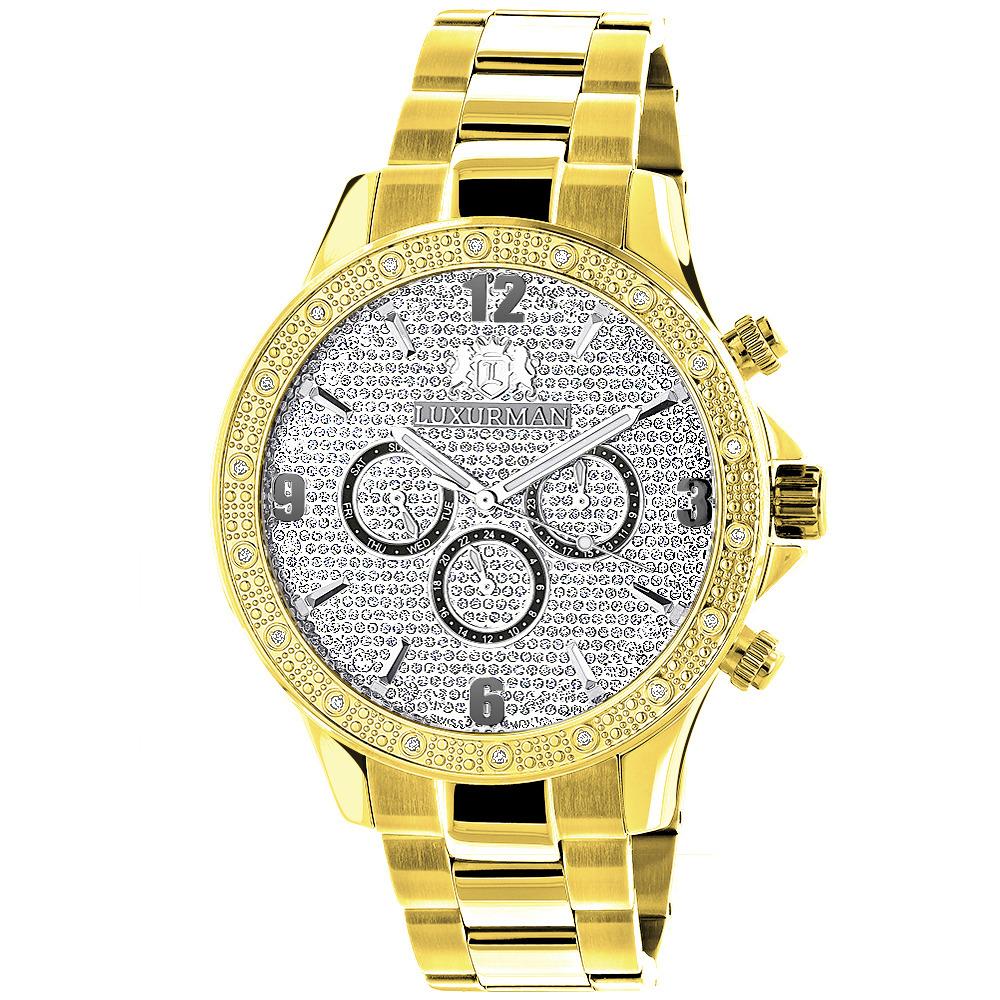 Luxurman Liberty Yellow Gold Plated Mens Diamond Watch Swiss Mvt 0.2ct