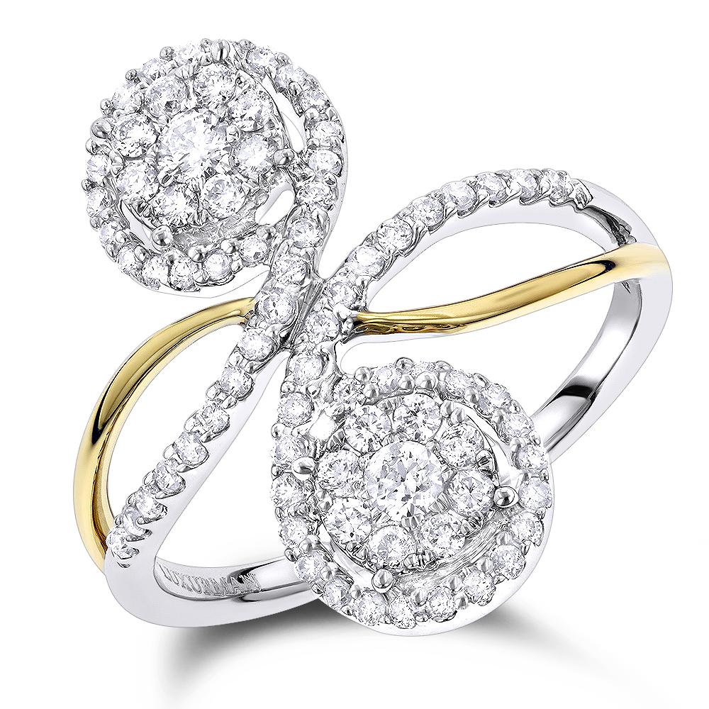 Luxurman Love & Friendship 2 Cluster Diamond Ladies Ring 0.7ct 14k Gold