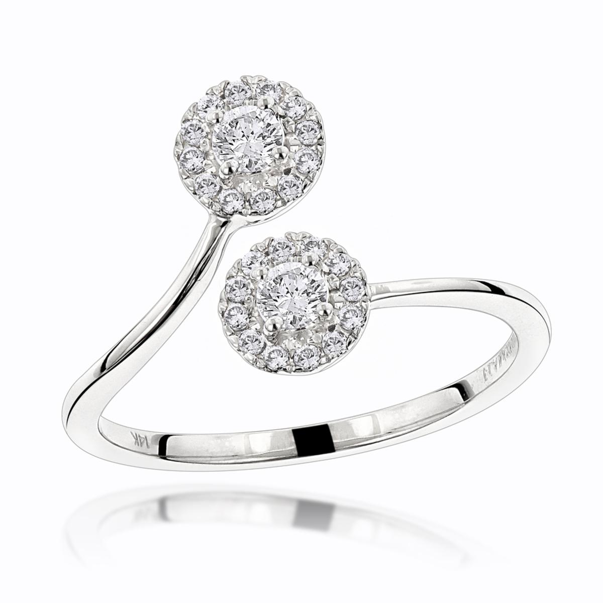 Luxurman Love & Friendship Rings: 14K Gold 2 Stone Diamond Halo Ring 0.33ct