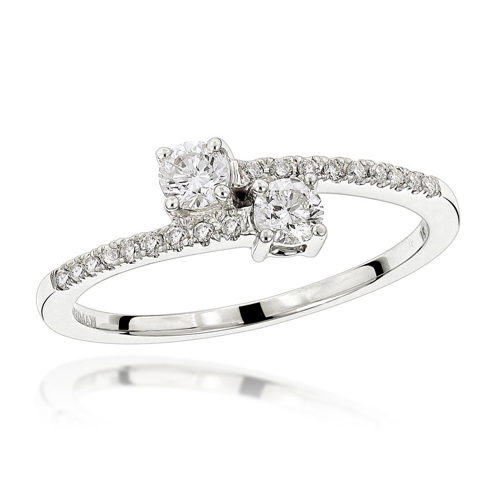 LUXURMAN Love & Friendship Rings 14K Gold 2 Stone Womens Diamond Ring 0.4ct