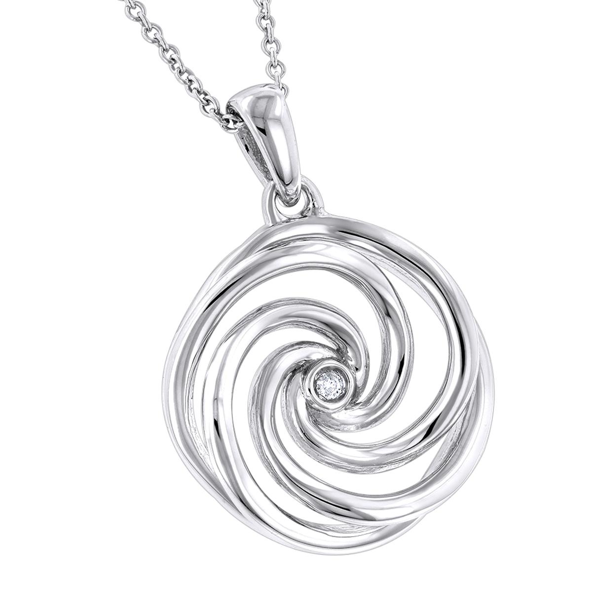 Luxurman Love Quotes: Delicate Sterling Silver Womens Diamond Swirl Pendant
