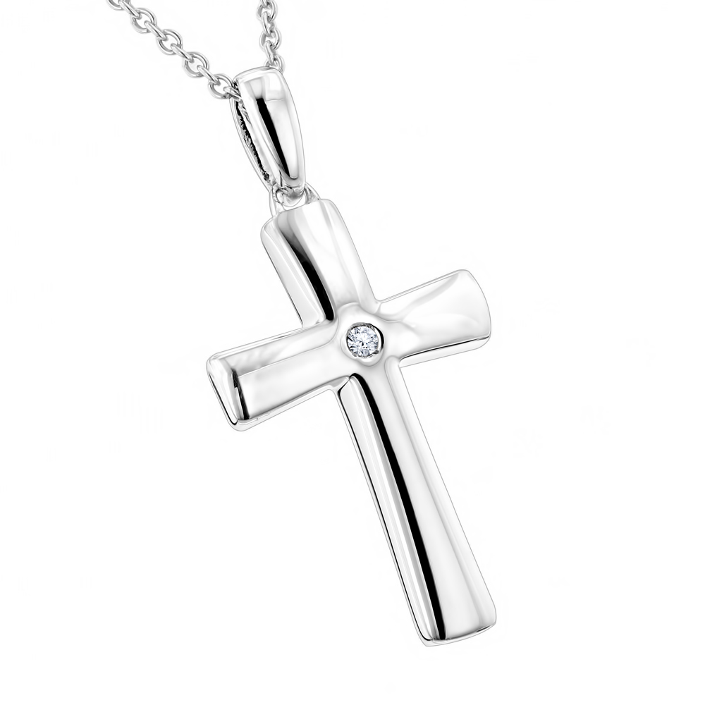 Luxurman Love Quotes Necklaces: Small Sterling Silver Diamond Cross Pendant