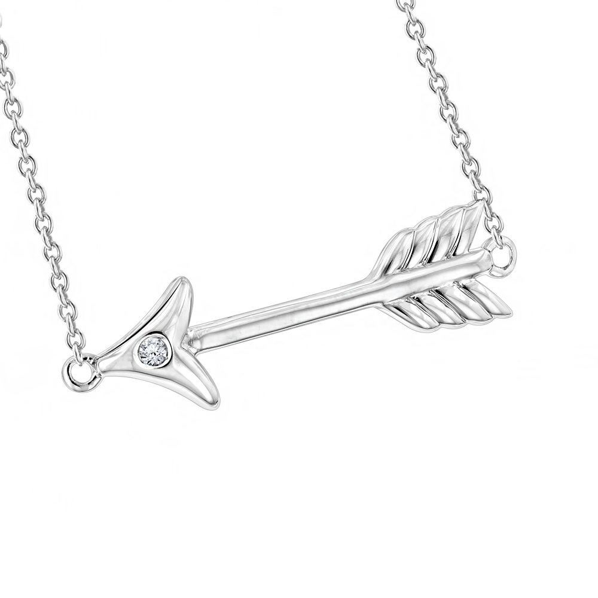 Luxurman Love Quotes Necklaces Sterling Silver Diamond Arrow Pendant