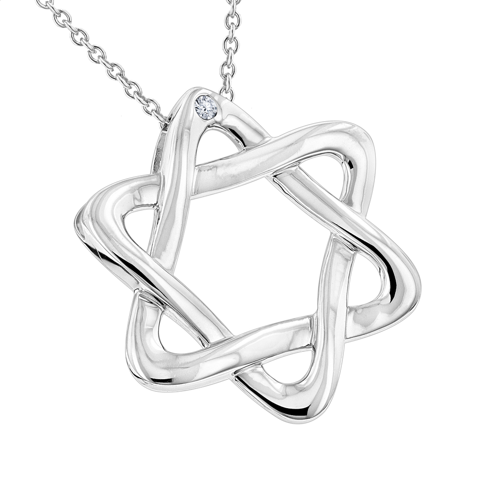 Luxurman Love Quotes Necklaces Sterling Silver Diamond Star of David Pendant