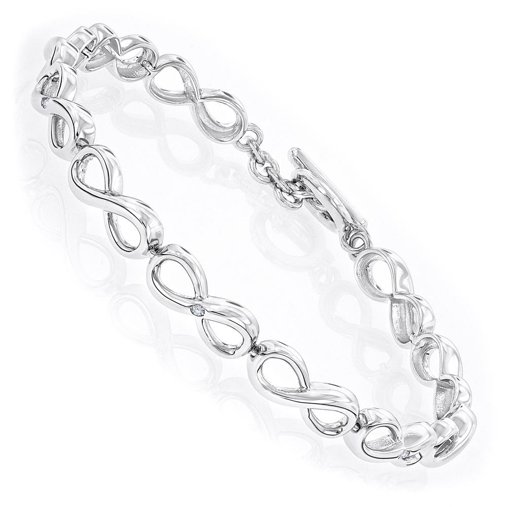 Luxurman Love Quotes: Sterling Silver Diamond Infinity Bracelet for Women