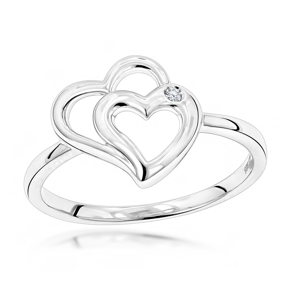 Luxurman Love Quotes: Sterling Silver Double Hearts Diamond Ring for Women