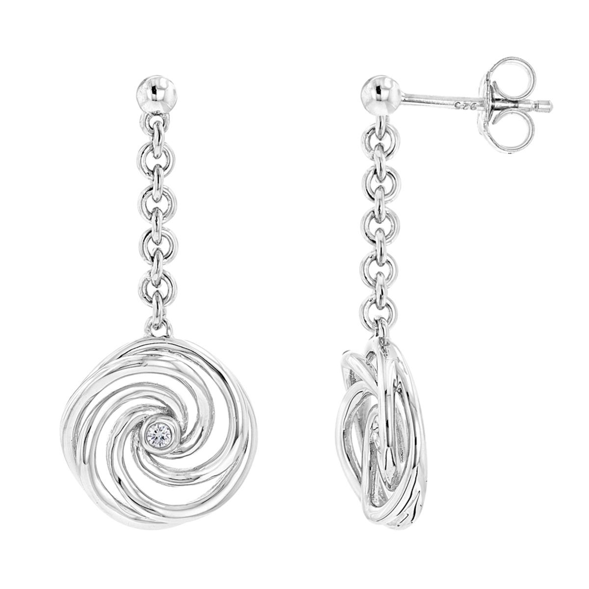 Luxurman Love Quotes Sterling Silver Swirl Diamond Drop Earrings Womens