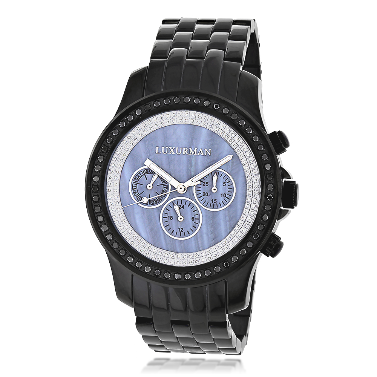 Luxurman Mens Black Diamond Watch 2.25ct Blue MOP
