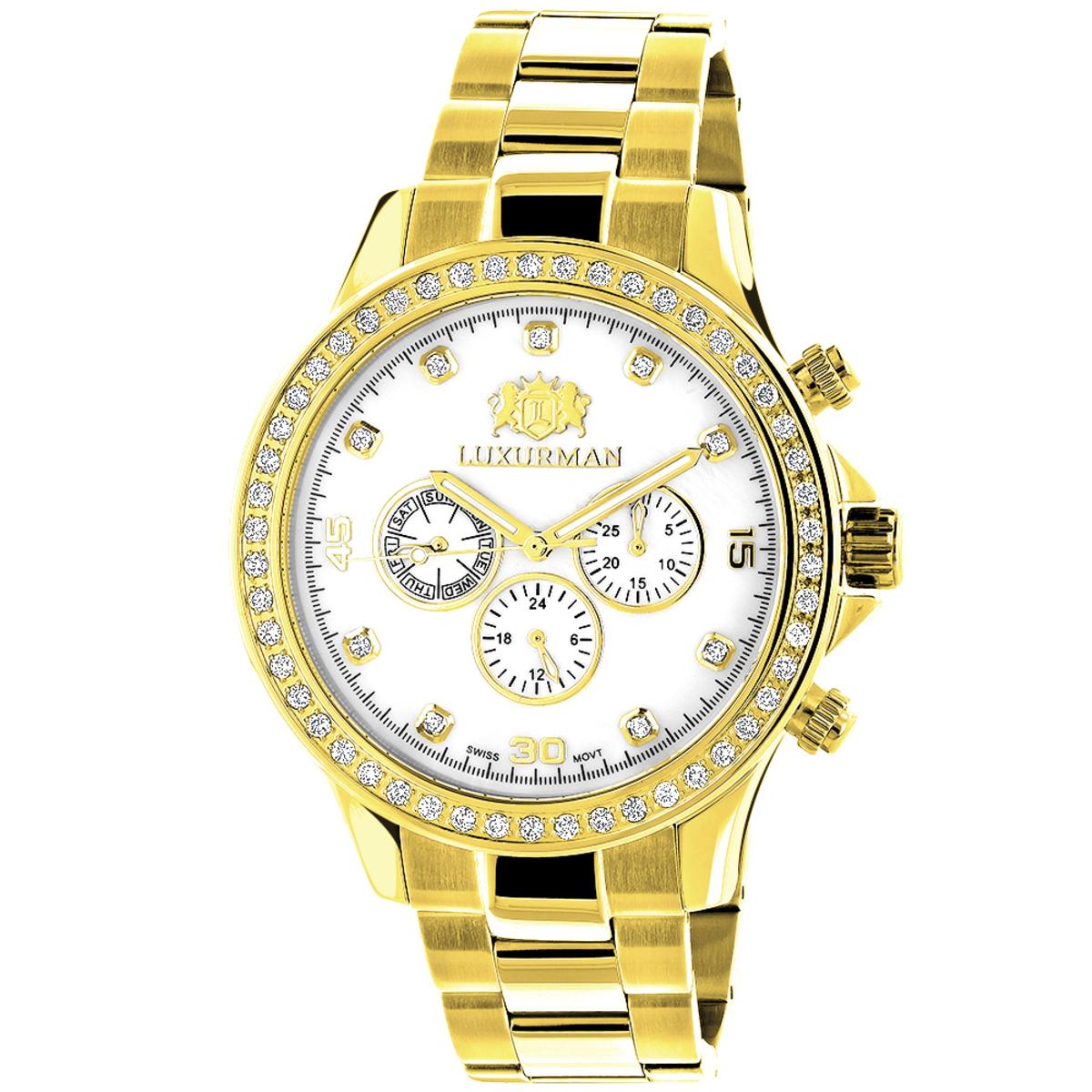 Luxurman Mens Diamond Liberty Watch 2ct Yellow Gold Plated White MOP