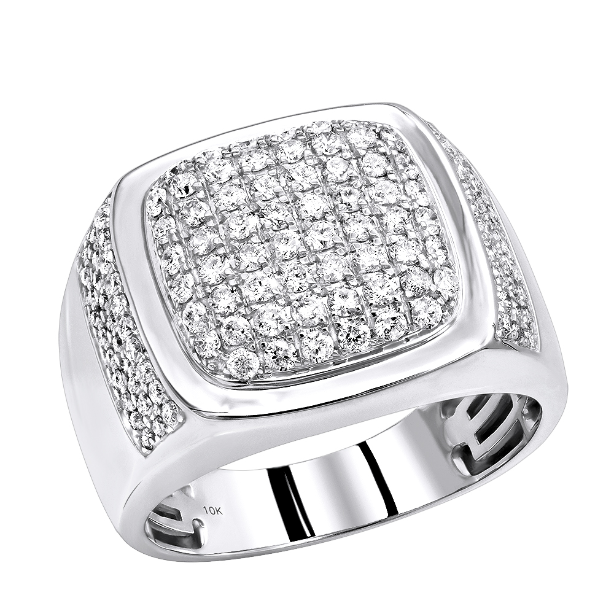 Luxurman Mens Diamond Rings 10k Gold Unique Diamond Wedding Band 1.5 Carat