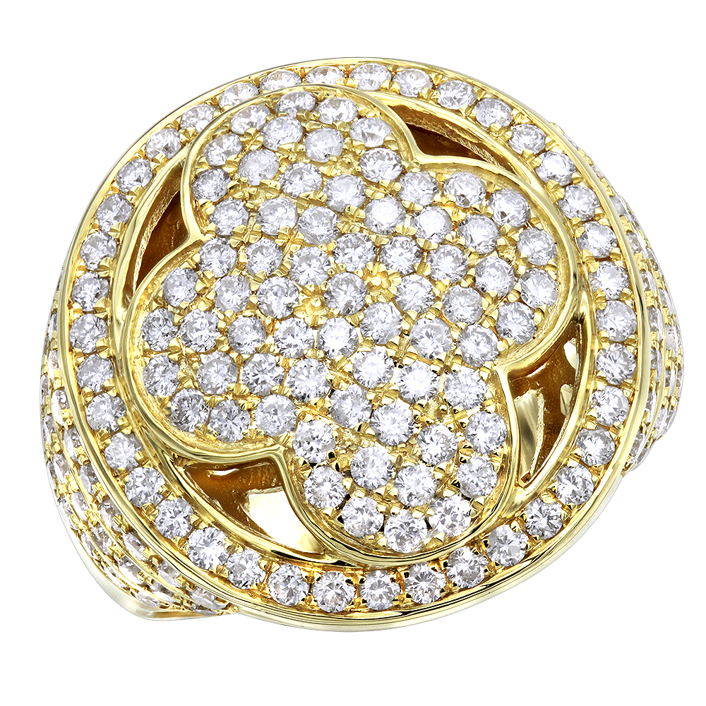 Luxurman Mens Diamond Rings 14k Gold 3 Carat Diamond Cross Pinky Ring
