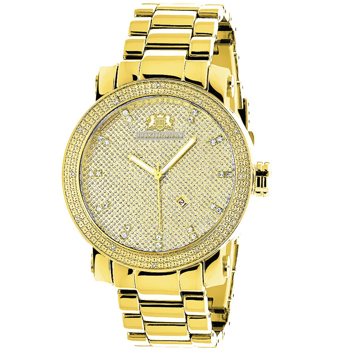 Large Luxurman Mens Diamond Watch 0.12ct Yellow Gold Plated Phantom