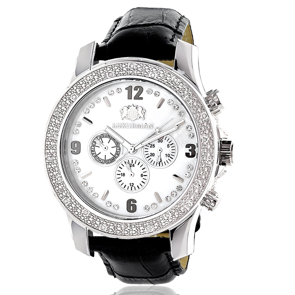 Luxurman Mens Diamond Watch 0.25ct
