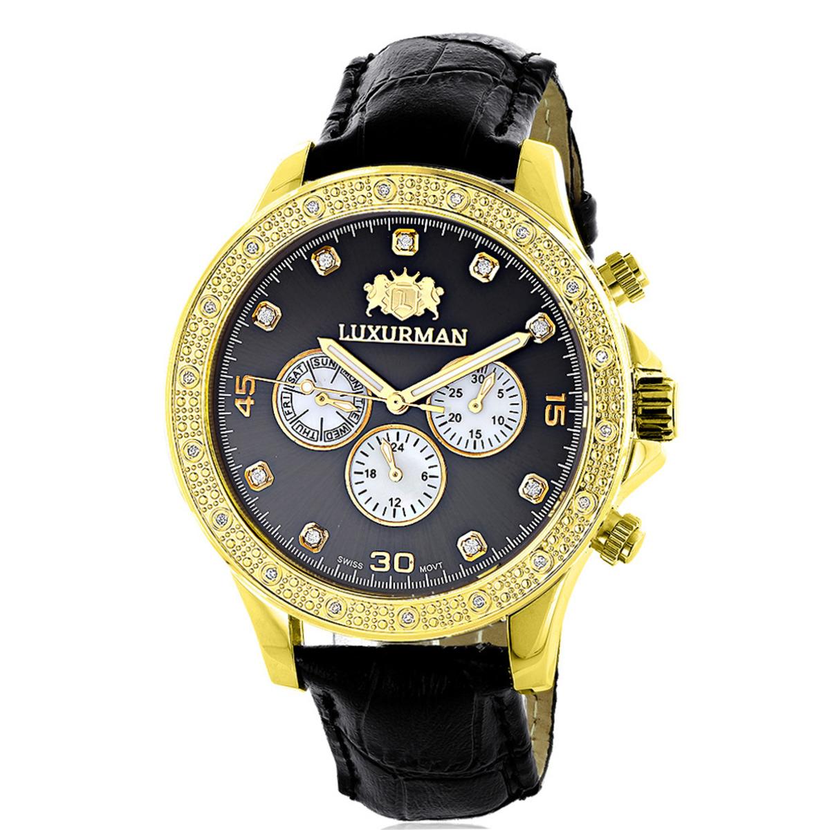 Luxurman Mens Diamond Watch 0.2ct Black MOP Liberty Yellow Gold Plated