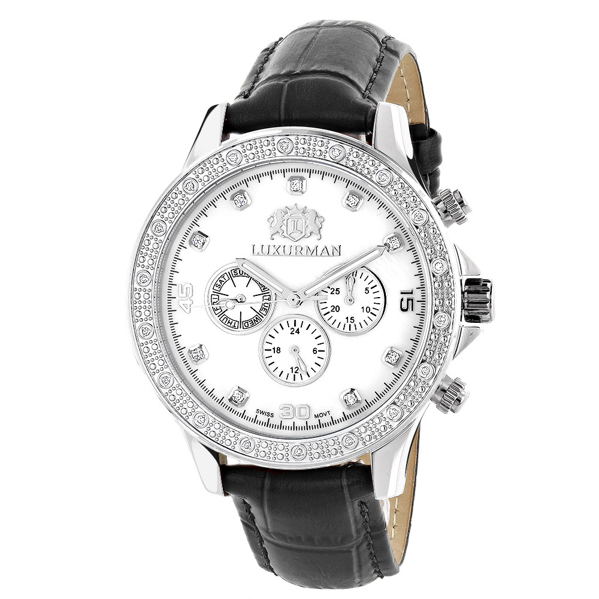Luxurman Mens Diamond Watch 0.2ct Swiss Quartz Liberty w Leather Band