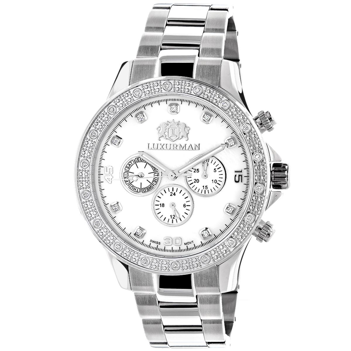 Luxurman Liberty Mens Diamond Watch 0.2ct White Gold Plated MOP Swiss Mvt
