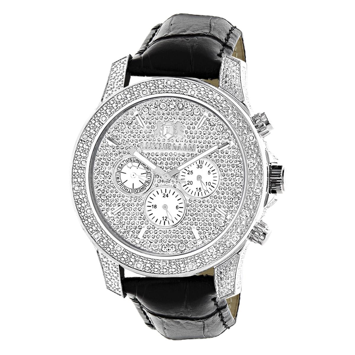 Luxurman Mens Diamond Watch 0.50 ct Freeze