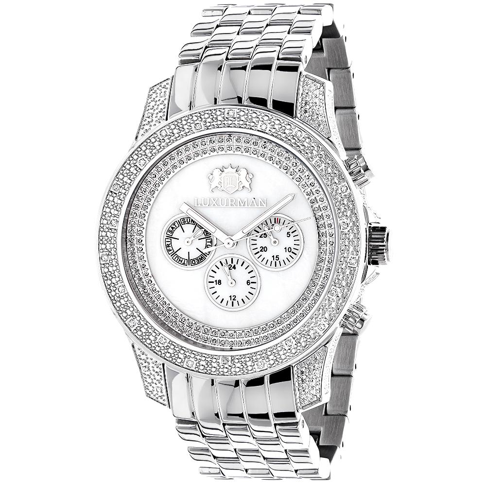 Luxurman Mens Diamond Watch 0.50 ct White Mop