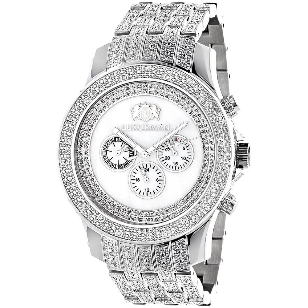 Luxurman Mens Diamond Watch 1 Carat w Diamond Band