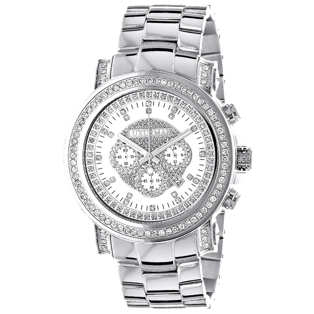 Oversized Luxurman Mens Diamond Watch 2.5ct Chronograph Gold Plated