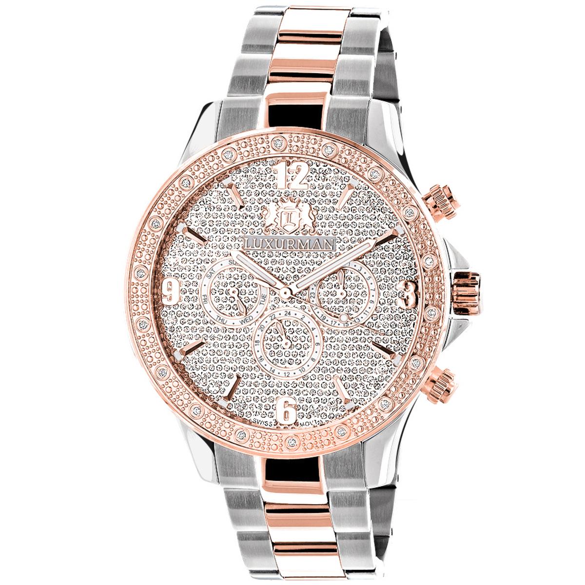 Luxurman Mens Diamond Watch Two-Tone White Rose Gold Pltd Liberty Swiss Mvt