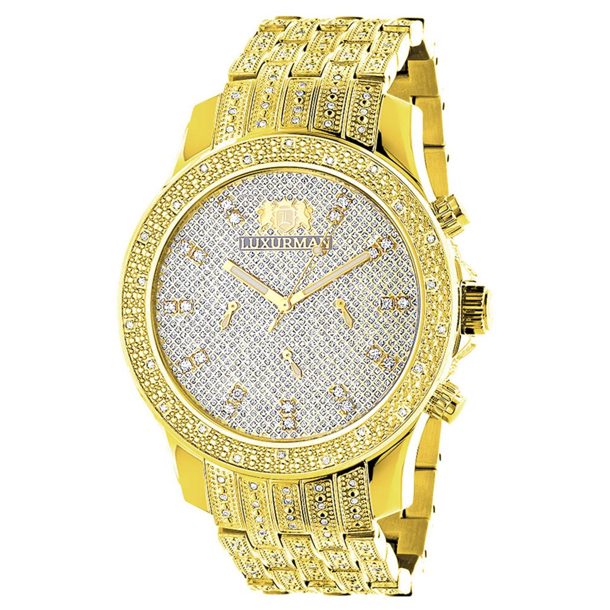 Luxurman Mens Diamond Watch Yellow Gold Tone 1ct