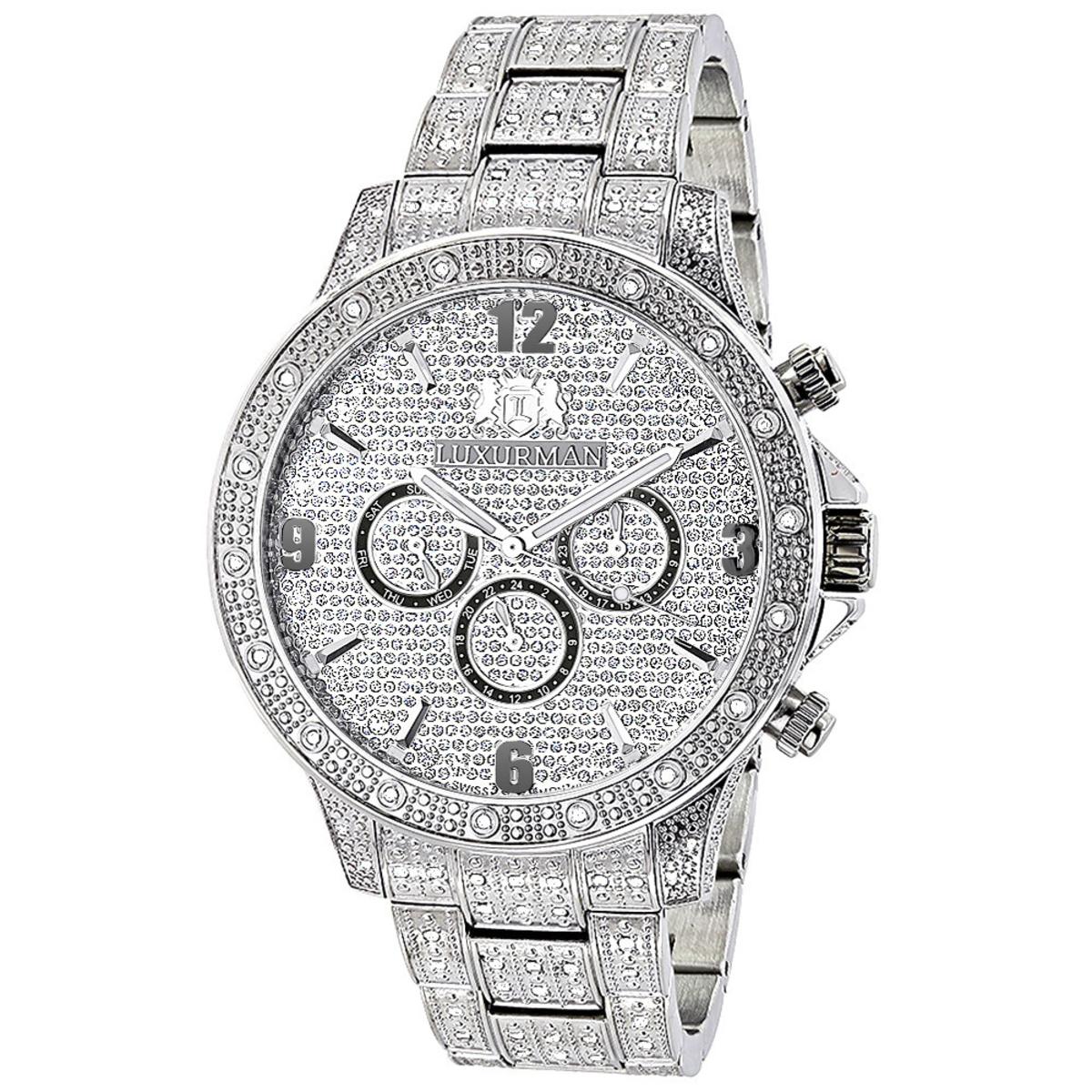 Luxurman Mens Diamond Watches: Swiss Quartz Fully Iced Out Watch 1.25ct