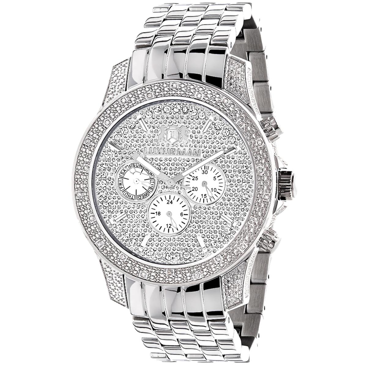 Luxurman Mens Watches Designer Diamond Watch 0.50ct