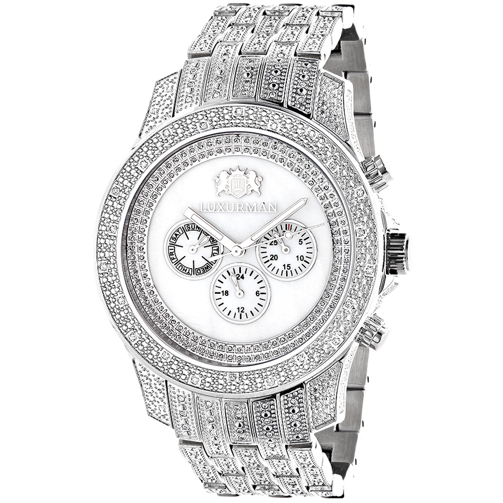 Luxurman Mens Watches Real Diamond Watch 1.25