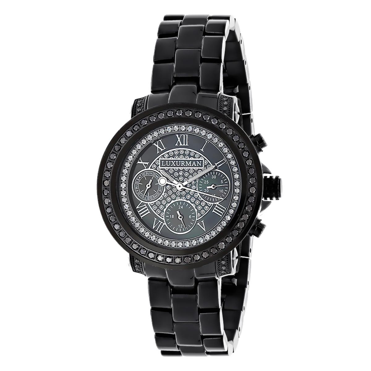 Luxurman Oversized Womens Black Diamond Watch 2.15ct