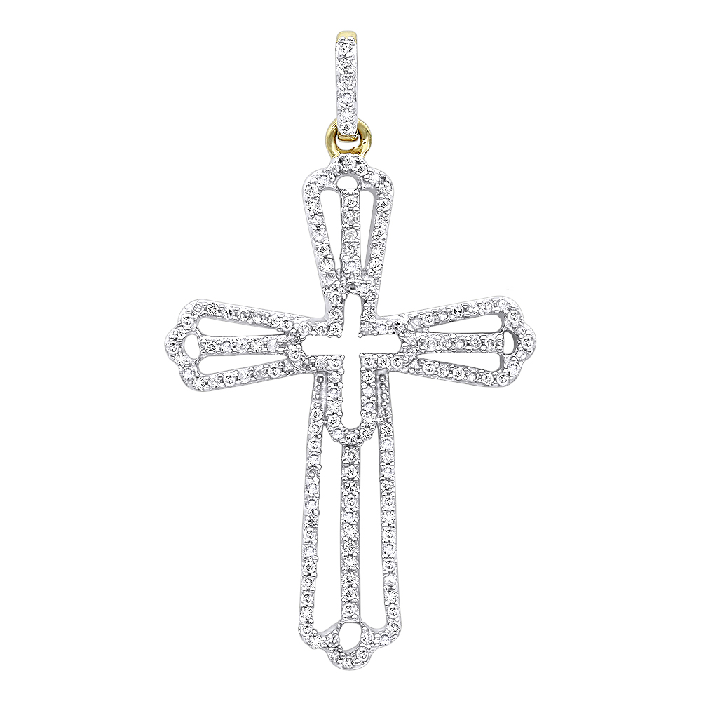 Luxurman Pendants: Diamond Cross Necklace for Women in 14k Gold 0.4ct
