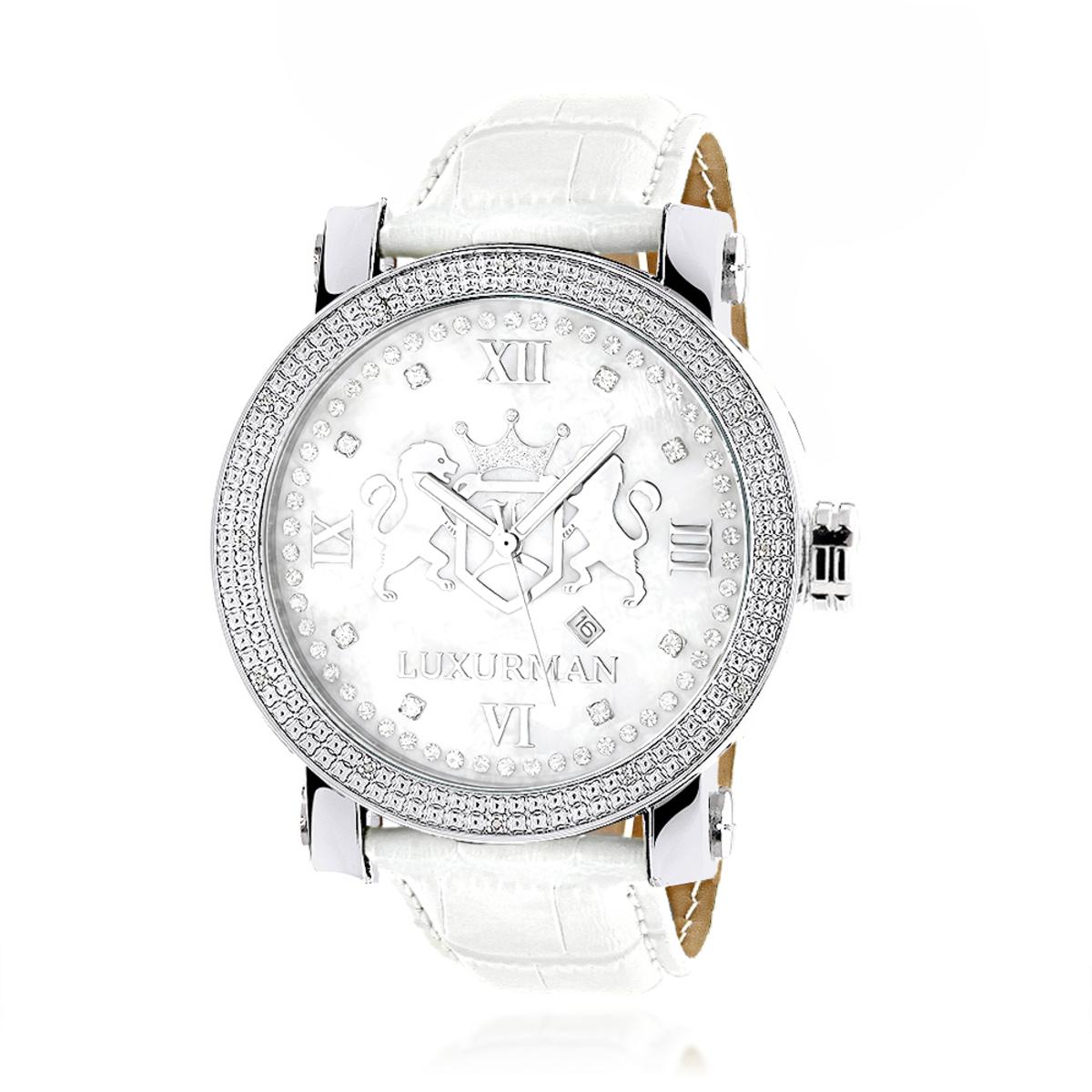 Luxurman Phantom Large Diamond Watch for Men Leather Band White MOP 0.12ct