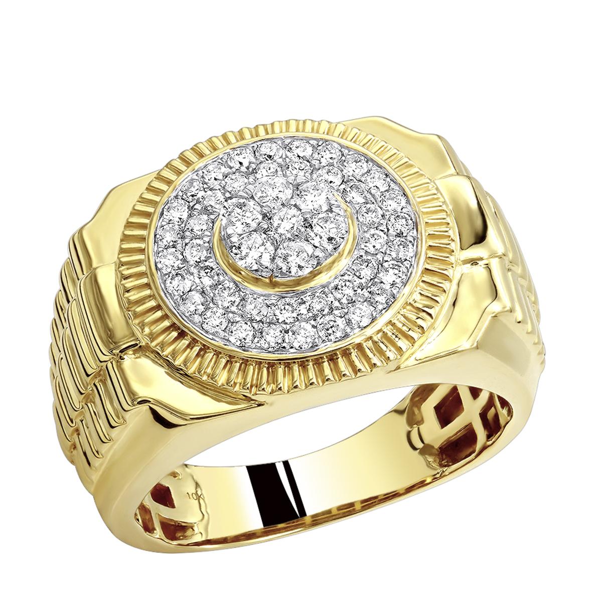 Mens Pinky Rings: 0.9ct 10k Gold Diamond Ring for Men