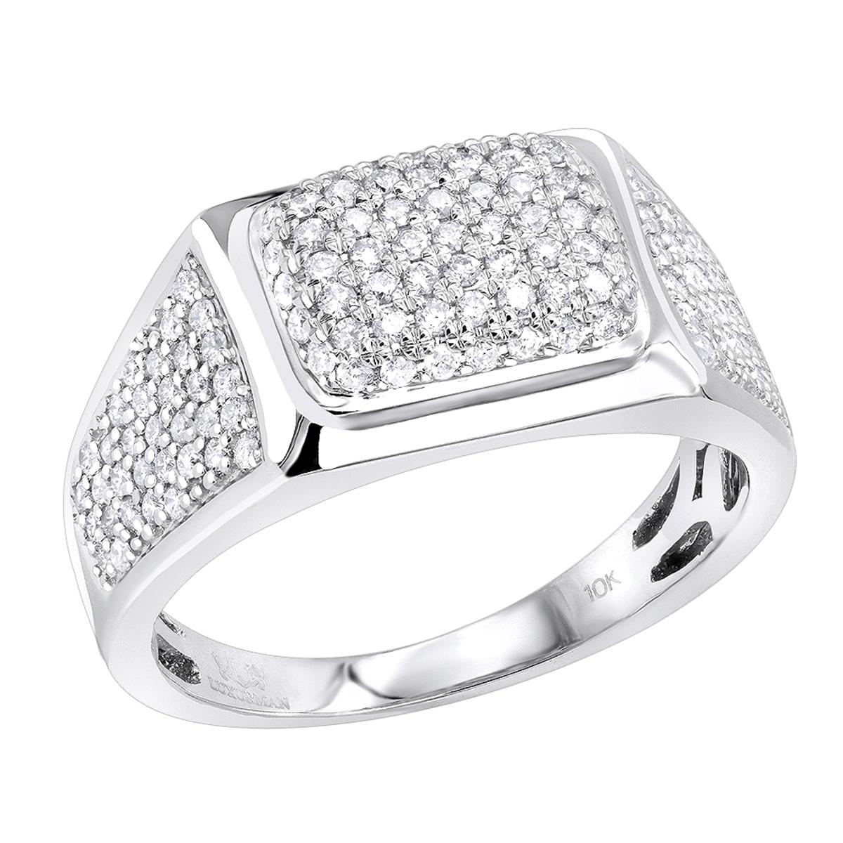 Luxurman Pinky Rings Solid 10K Gold 1 Carat Diamond Ring for Men