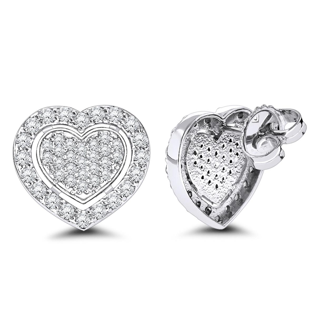 Luxurman Platinum Diamond Heart Earrings Studs 0.5ctw