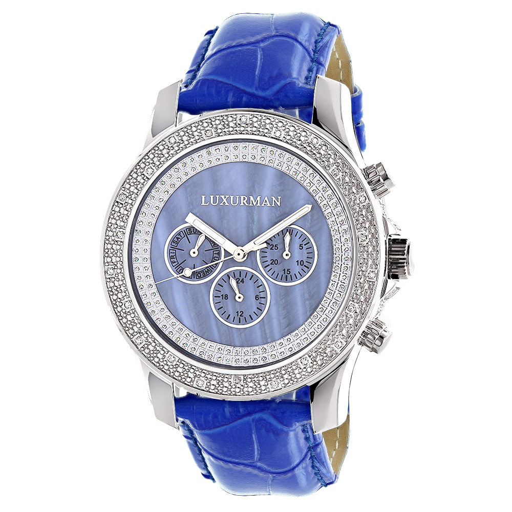 Luxurman Raptor Watches Mens Diamond Watch 0.25ct Blue MOP w Leather Strap