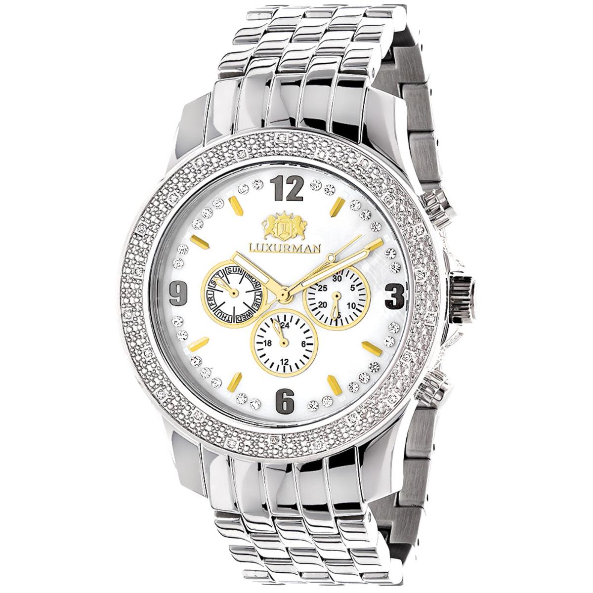 Luxurman Raptor Two-Tone Mens Diamond Watch 0.25ct