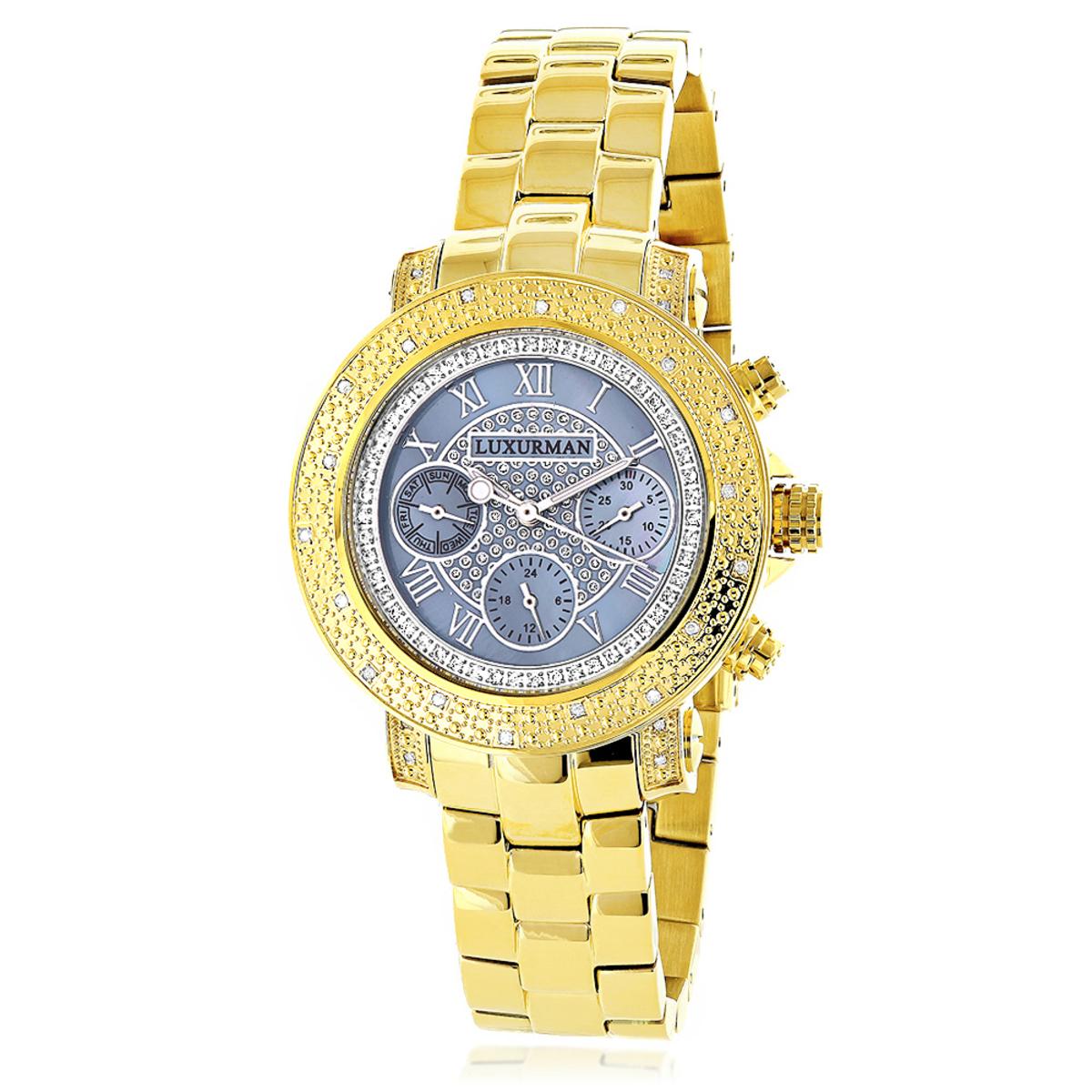 Luxurman Real Diamond Watch for Women 0.3ct Yellow Gold Plated Montana
