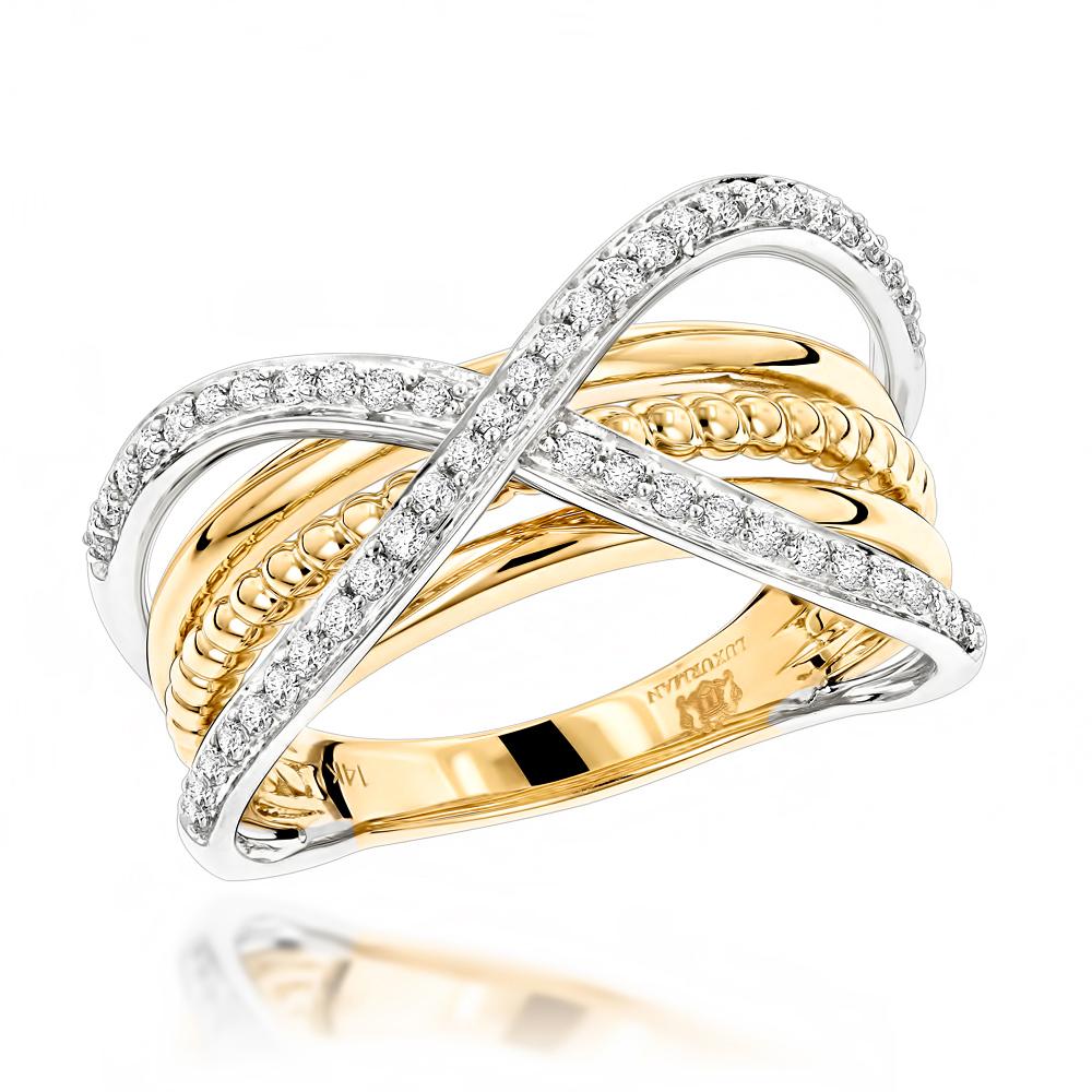 Luxurman Right Hand Rings Criss-Cross Designer Ladies Diamond Ring 14k Gold