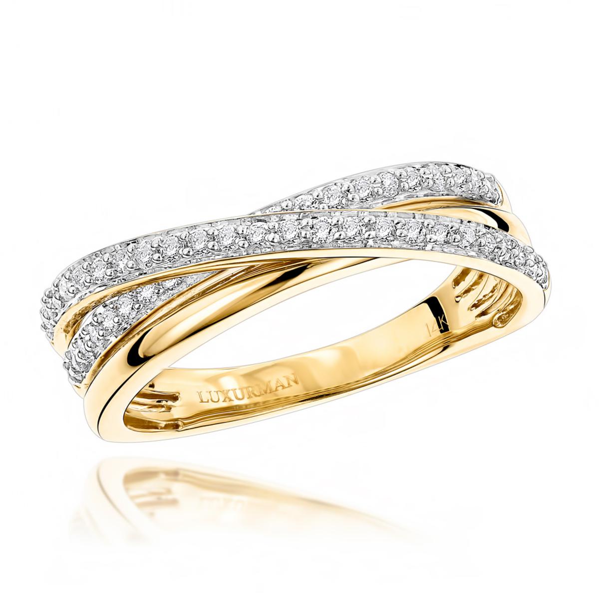 Luxurman Right Hand Rings: Ladies Diamond Criss Cross Ring 14K ...