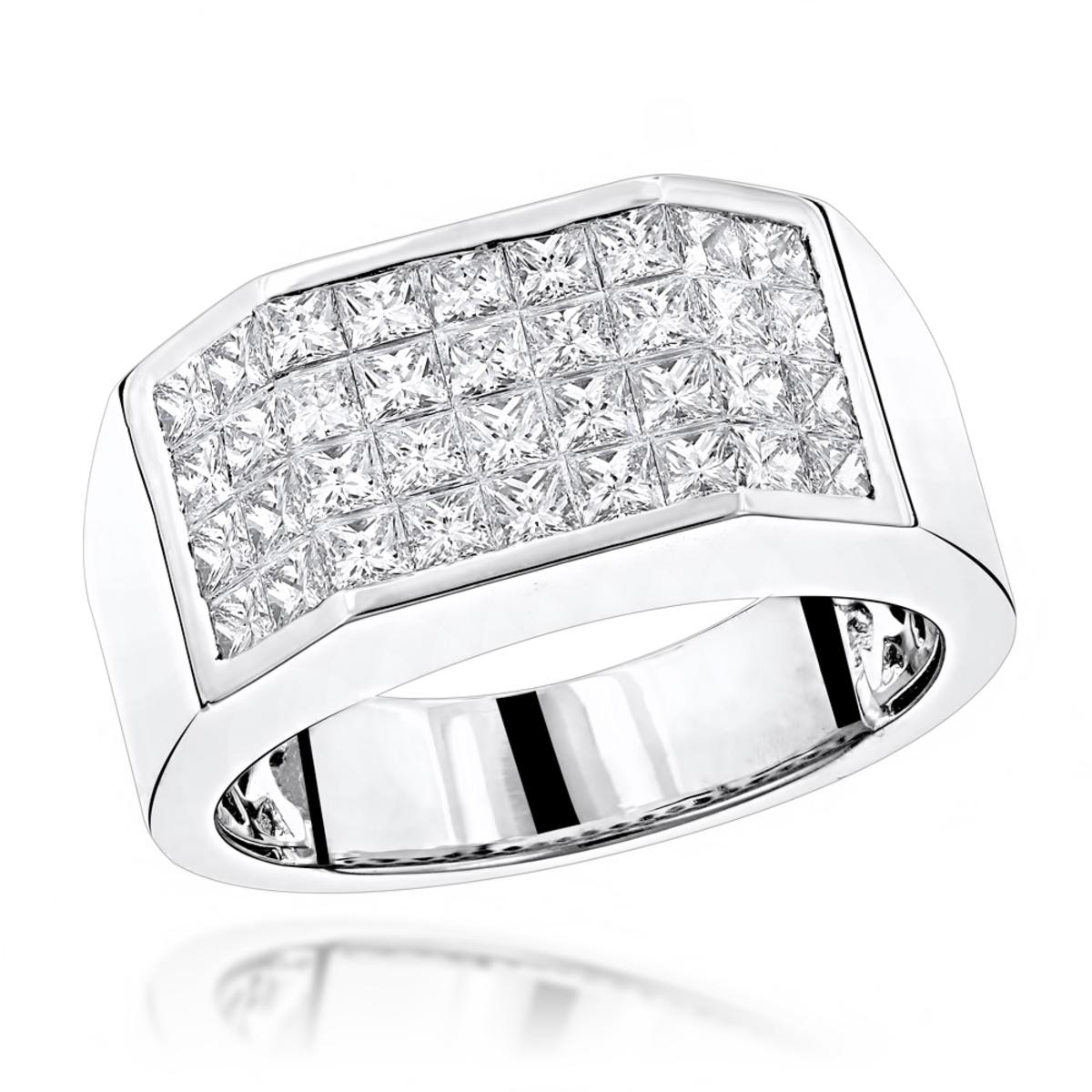 LUXURMAN Rings Unique Platinum Princess Cut Diamond Band for Men 3.25ct