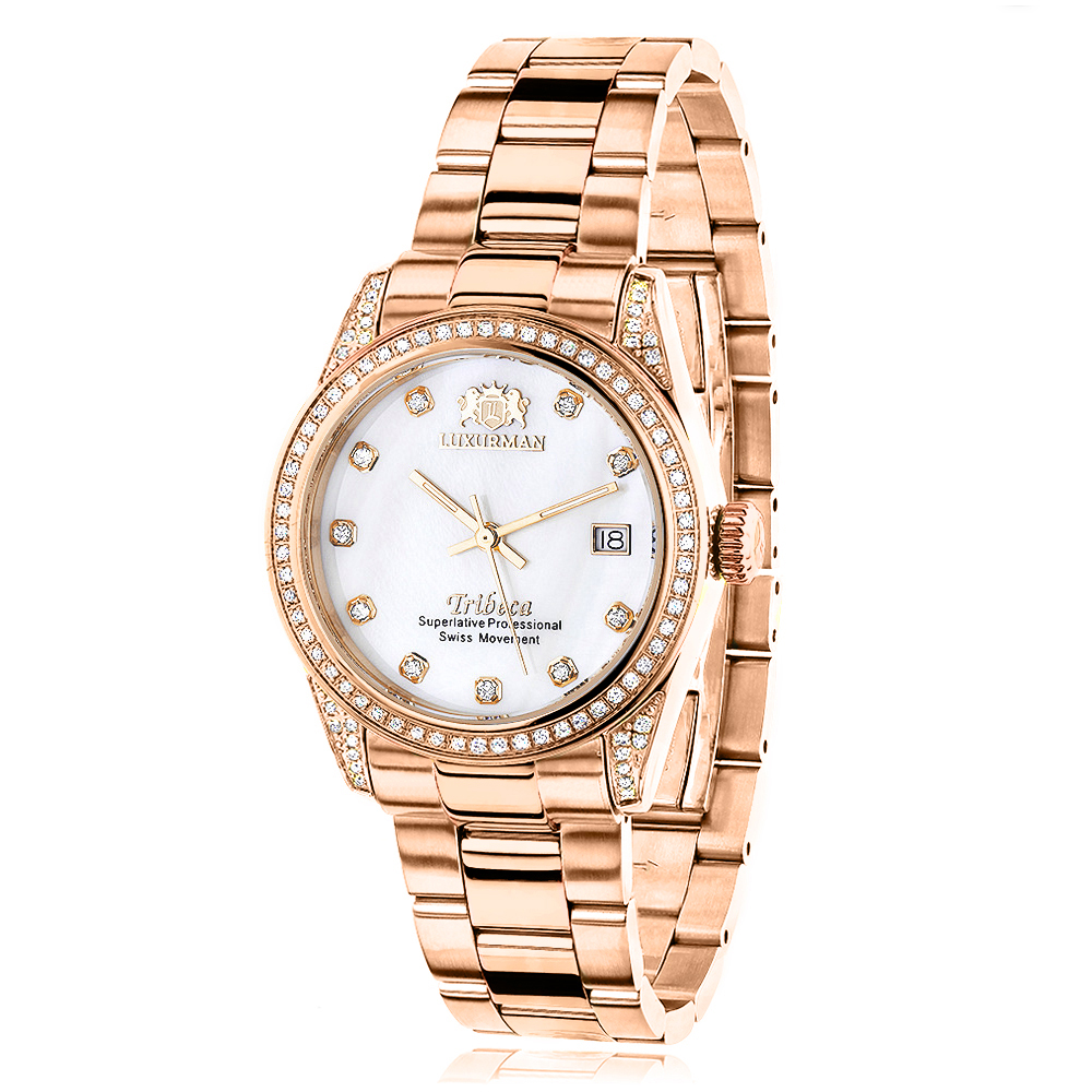 Luxurman Rose Gold Plated Diamond Watch for Women Tribeca Swiss Quartz