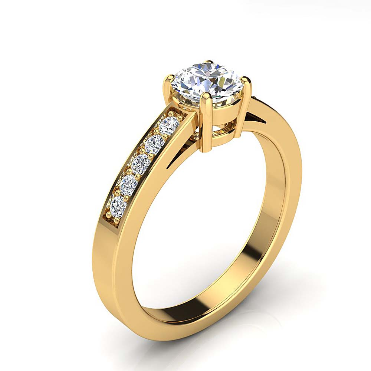 Luxurman Round Diamond Engagement Ring Setting 0.15ct 14K Gold