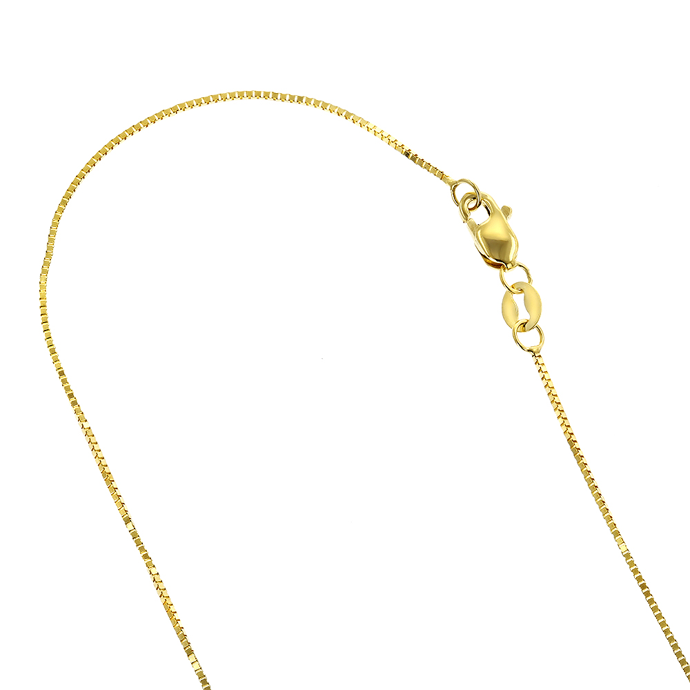 LUXURMAN Solid 10k Gold Box Chain For Women 0.5mm Wide